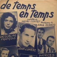 Partituras musicales: DE TEMPS EN TEMPS 17,5X27 CM. Lote 159602058