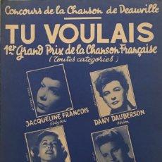 Partituras musicales: TU VOULAIS 17,5X27,5 CM. Lote 159602362
