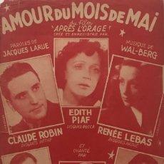 Partituras musicales: AMOUR DU MOIS DE MAI 17,5X27,5 CM. Lote 159602950