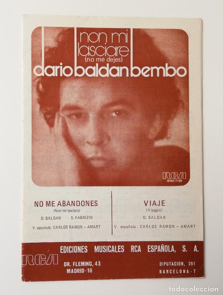 PARTITURAS.NON MI LASCIARE/VIAGGIO (Música - Partituras Musicales Antiguas)