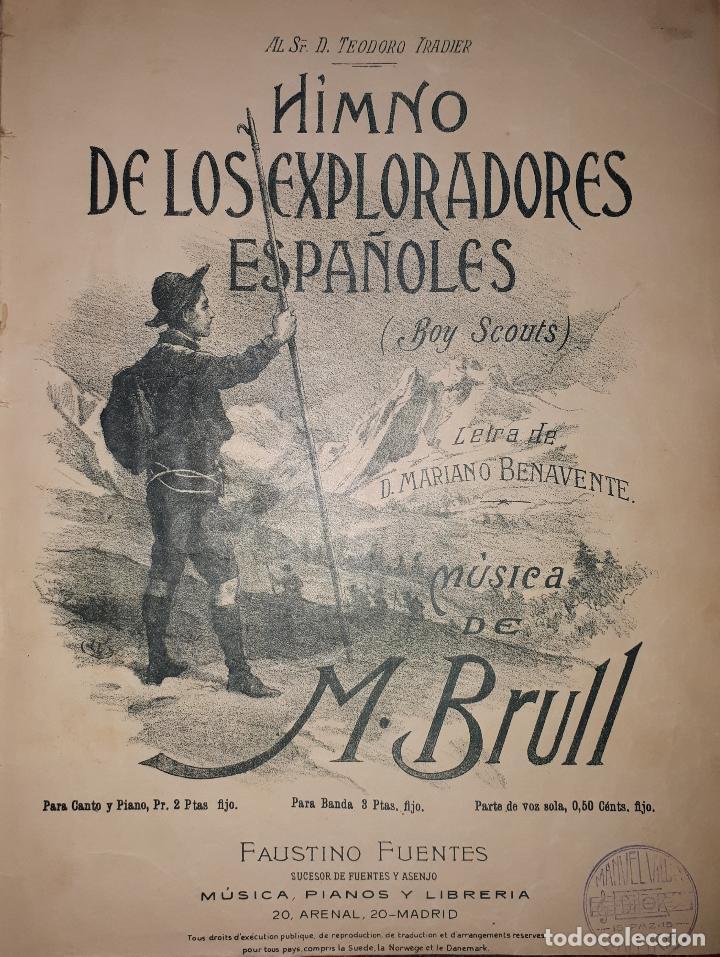 HIMNO DE LOS EXPLORADORES ESPAÑOLES BOYS SCOUTS TEODORO IRADIER BENAVENTE BRULL PARTITURA (Música - Partituras Musicales Antiguas)