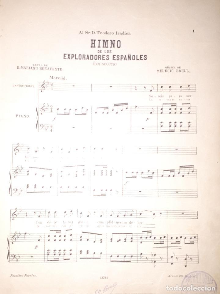 Partituras musicales: HIMNO DE LOS EXPLORADORES ESPAÑOLES BOYS SCOUTS TEODORO IRADIER BENAVENTE BRULL PARTITURA - Foto 2 - 160644070