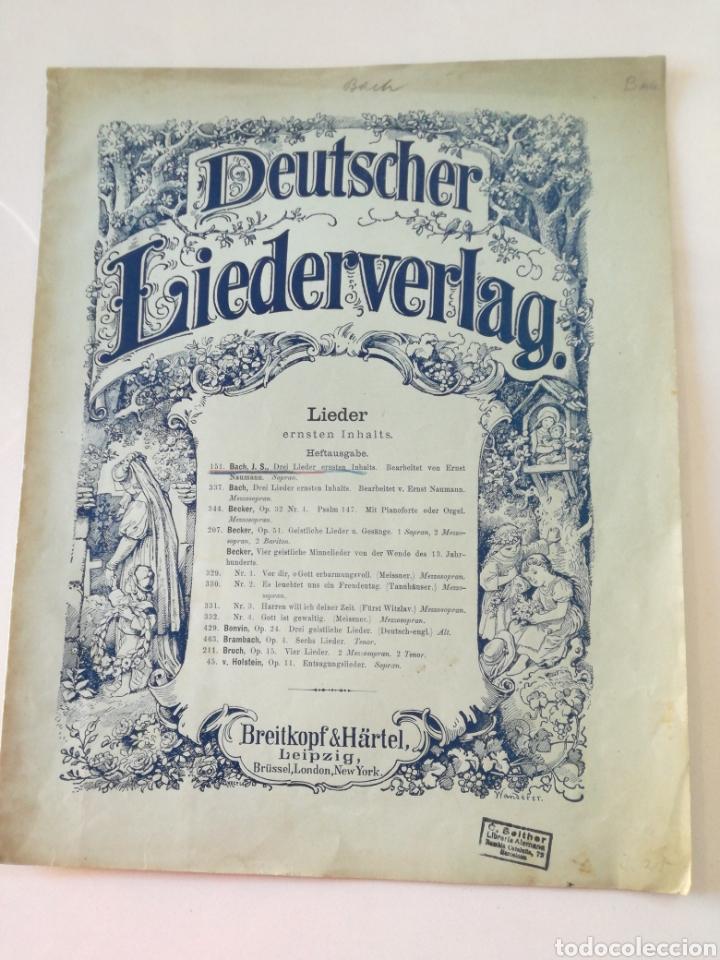 DEUTSCHER LIEDERVERLAG - LIEDER - ANTIGUA PARTITURA BREITKOPF & HARTEL CIRCA 1900 // BACH (Música - Partituras Musicales Antiguas)