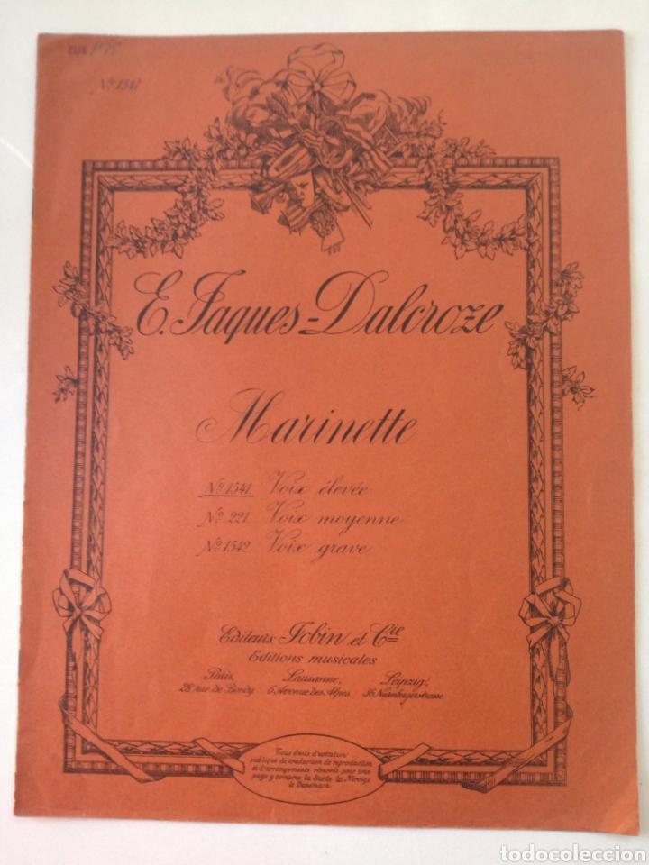 E. TAGUES - DALCROZE - MARINETTE - ANTIGUA PARTITURA JOBIN ET CIE CIRCA 1900 (Música - Partituras Musicales Antiguas)