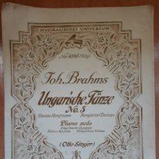 Partituras musicales: PARTITURA JOH.BRAHMS UNGARICHE TÄNZE PIANO. Lote 162247048