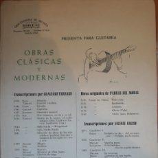 Partituras musicales: PARTITURA OBRAS CLÁSICAS PARA GUITARRA 1955. Lote 162260112