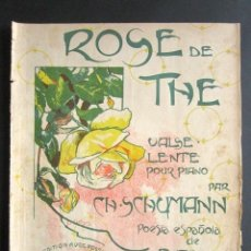 Partituras musicales: ANTIGUA PARTITURA MÚSICA. ROSE DE THE VALSE LENTE POUR PIANO. CH. SCHUMAN. POESÍA ESPAÑOLA AGEA. . Lote 162771622