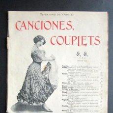 Partituras musicales: ANTIGUA PARTITURA MÚSICA. CANCIONES COUPLETS. REPERTORIO DE VARIETÉS. FAUSTINO FUENTES. . Lote 162774026