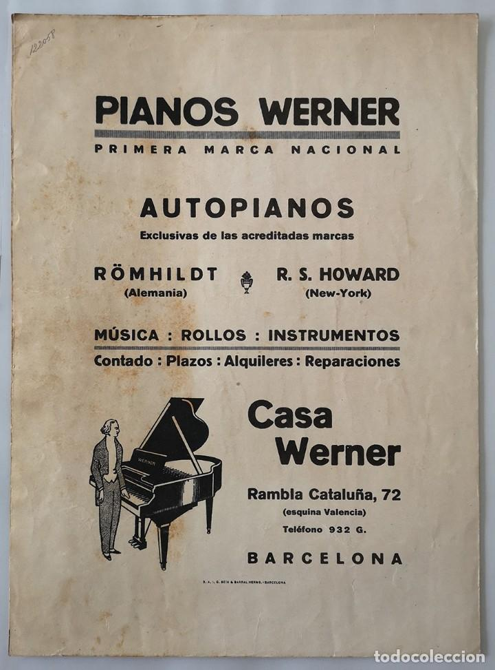 Partituras musicales: Shimmy-Werner. Obsequio que la casa Werner dedica a los concurrentes al Salón de la Moda. Octubre 1 - Foto 2 - 165184706