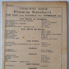 Partituras musicales: VIOLON. CINQUÈME ALBUM. FRANCIS SALABERT 1923. Lote 166300902