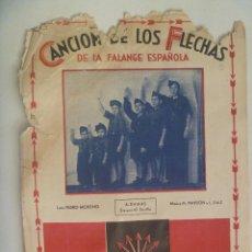 Partiture musicali: GUERRA CIVIL - FALANGE : PARTITURA DE LA CANCION DE LOS FLECHAS. CUÑO PRE UNIFICACION . HECHO POLVO. Lote 166395514
