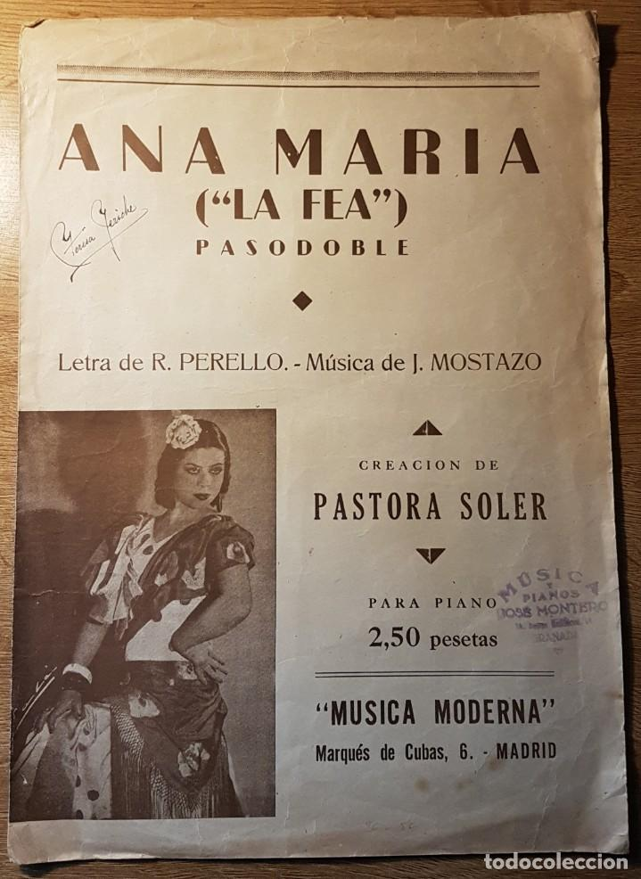 PARTITURA DE PASTORA SOLER. ANA MARÍA LA FEA. PERELLÓ Y MOSTAZO (Música - Partituras Musicales Antiguas)