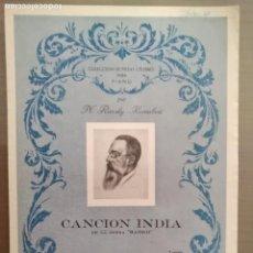 Partituras musicales: PARTITURA CANCION DE INDIA. Lote 166990560