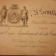 Partituras musicales: PARTITURA A SEVILLA, PASODOBLE RETRETA. Lote 167065698