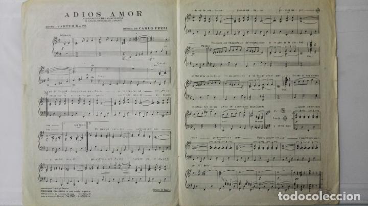 Partituras musicales: ANTIGUA PARTITURA, ADIOS AMOR - LA CANCION DEL POSTILLON, MELODIAS DEL DANUBIO, EDICIONES COLUMBIA - Foto 2 - 168063276