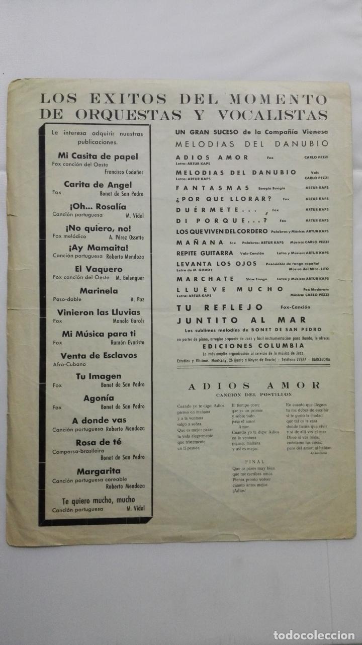 Partituras musicales: ANTIGUA PARTITURA, ADIOS AMOR - LA CANCION DEL POSTILLON, MELODIAS DEL DANUBIO, EDICIONES COLUMBIA - Foto 3 - 168063276