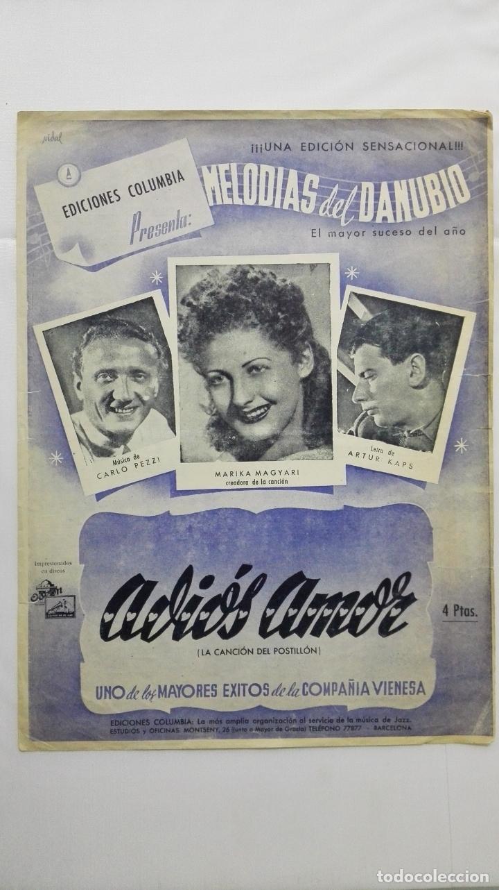 ANTIGUA PARTITURA, ADIOS AMOR - LA CANCION DEL POSTILLON, MELODIAS DEL DANUBIO, EDICIONES COLUMBIA (Música - Partituras Musicales Antiguas)