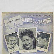 Partituras musicales: ANTIGUA PARTITURA, ADIOS AMOR - LA CANCION DEL POSTILLON, MELODIAS DEL DANUBIO, EDICIONES COLUMBIA. Lote 168063276