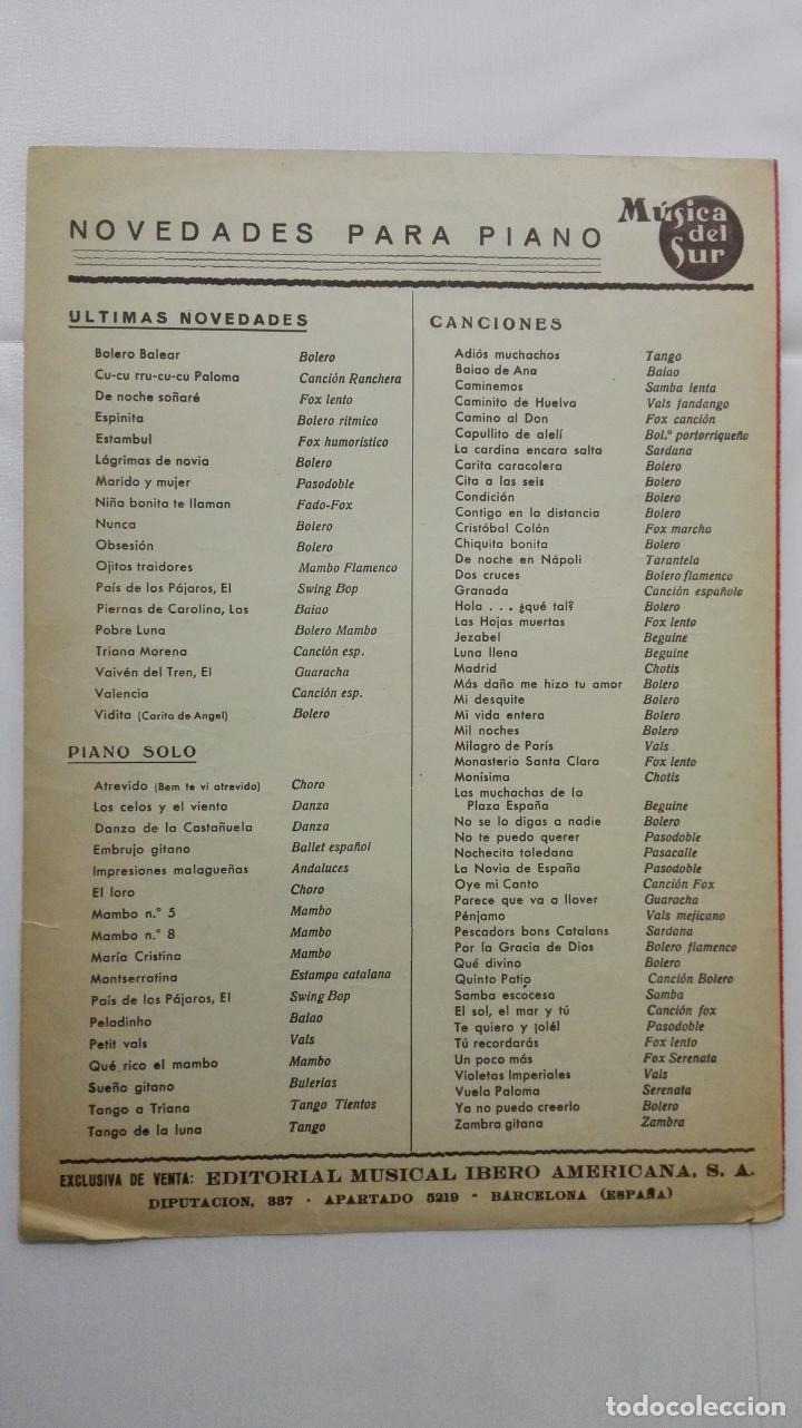 Partituras musicales: ANTIGUA PARTITURA, RECORDAD A MARCELINO - FOX, MUSICA DEL SUR, AÑO 1956, CISCOS PATHE, RENATO CAROSO - Foto 3 - 168063464