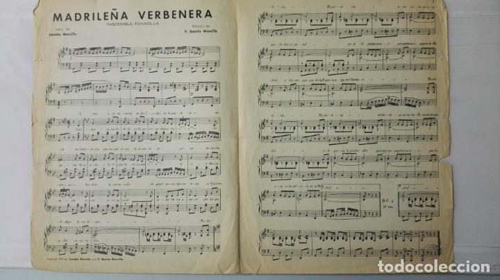 Partituras musicales: ANTIGUA PARTITURA, MADRILEÑA VERBENERA - PASODOBLE-TONADILLA, UNION MUSICAL ESPAÑOLA, AÑO 1951 - Foto 2 - 168063680