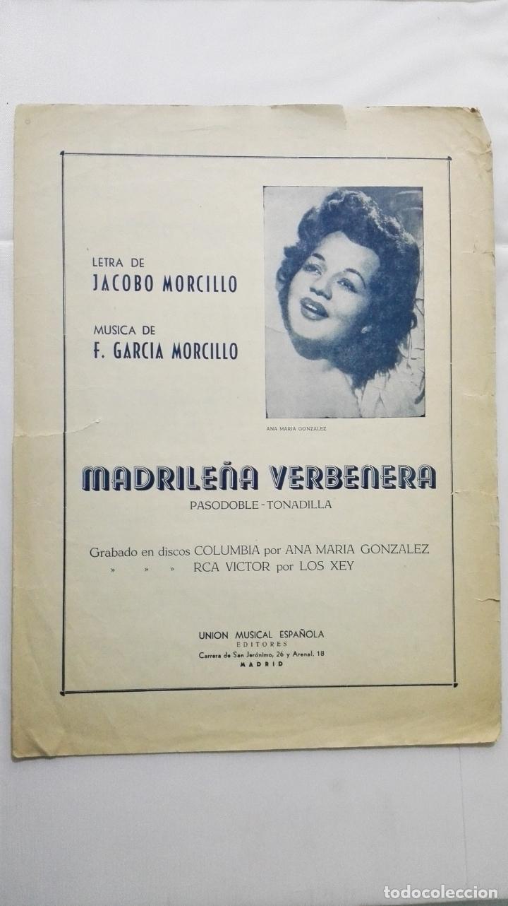 ANTIGUA PARTITURA, MADRILEÑA VERBENERA - PASODOBLE-TONADILLA, UNION MUSICAL ESPAÑOLA, AÑO 1951 (Música - Partituras Musicales Antiguas)