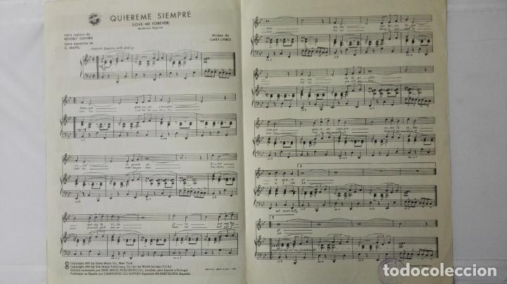 Partituras musicales: ANTIGUA PARTITURA, QUIEREME SIEMPRE, GRAN CREACION DE LOS 5 LATINOS , CANCIONES DEL MUNDO, AÑO 1958 - Foto 2 - 168064420
