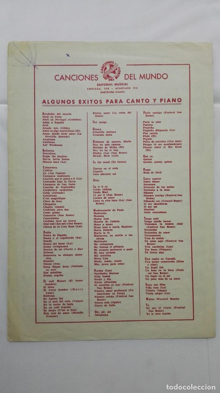 Partituras musicales: ANTIGUA PARTITURA, QUIEREME SIEMPRE, GRAN CREACION DE LOS 5 LATINOS , CANCIONES DEL MUNDO, AÑO 1958 - Foto 3 - 168064420