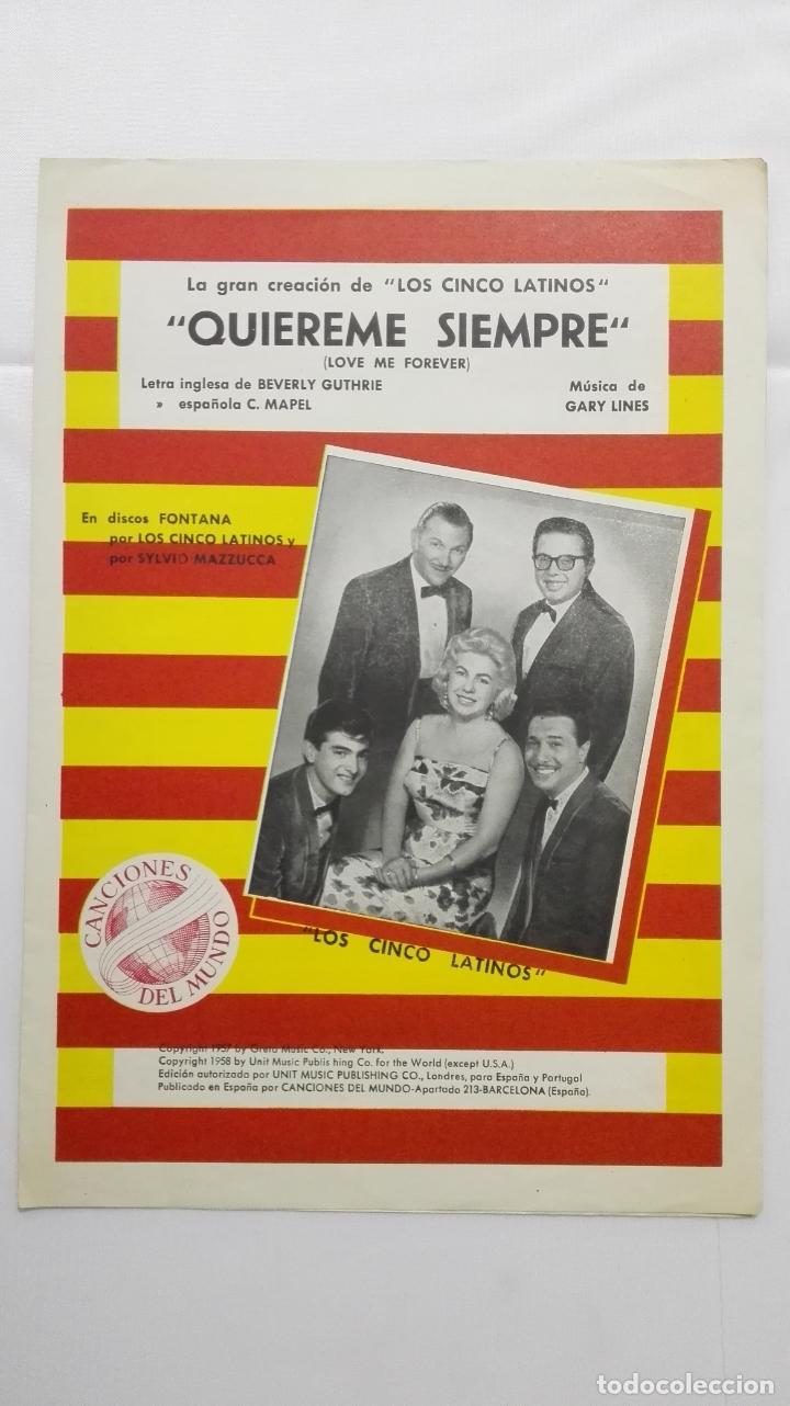 ANTIGUA PARTITURA, QUIEREME SIEMPRE, GRAN CREACION DE LOS 5 LATINOS , CANCIONES DEL MUNDO, AÑO 1958 (Música - Partituras Musicales Antiguas)
