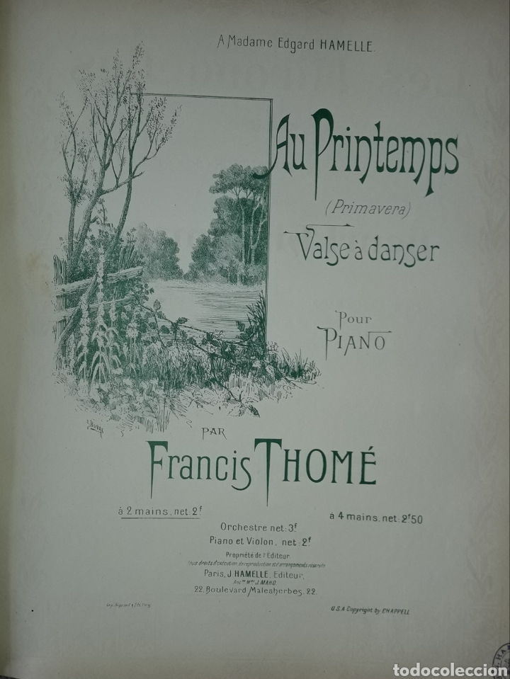 PARTITURA ANTIGUA AU PRINTEMPS (Música - Partituras Musicales Antiguas)