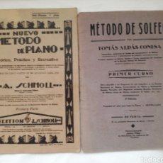 Partituras musicales: DOS ANTIGUOS METODOS DE PIANO Y UNO DE SOLFEO.. Lote 169333670