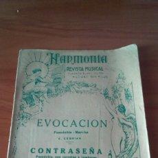 Partituras musicais: HARMONIA - REVISTA MUSICAL - EVOCACIÓN PASODOBLE- MARCHA. E.CEBRIAN.1941. Lote 169781476
