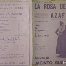 Partituras musicales: ANTIGUA PARTITURA, LA ROSA DEL AZAFRAN, ZARZUELA EN DOS ACTOS, 8 PAGINAS. Lote 170355688