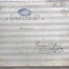 Partituras musicales: PARTITURA MANUSCRITA POR FRANCESC DE PAULA BOVÉ- HABANERA AMOROSA. VILAFRANCA DEL PENEDES.. Lote 170859775