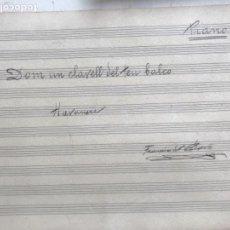 Partituras musicales: PARTITURA MANUSCRITA DE FRANCESC DE PAULA BOVÉ- HAVANERA. VILAFRANCA DEL PENEDES.. Lote 170860900