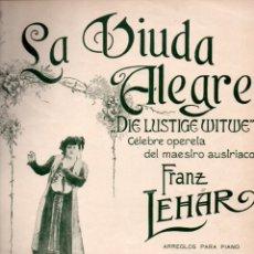 Partituras musicales: FRANZ LEHAR : LA VIUDA ALEGRE - RIGODÓN QUADRILLE (MUSICAL EMPORIUM, 1909). Lote 171227767