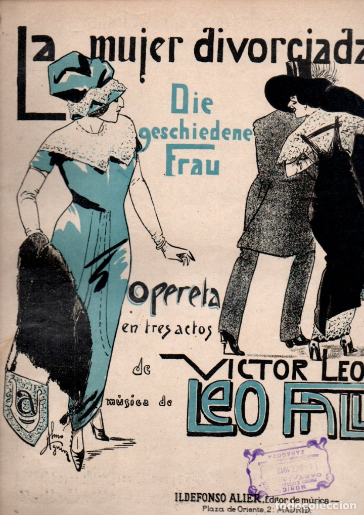 LEO FALL : LA MUJER DIVORCIADA - TANDA DE VALSES (ALIER) (Música - Partituras Musicales Antiguas)