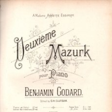 Partituras musicales: GODARD : DEUXIEME MAZURK (HAMELLE, PARIS). Lote 171229118