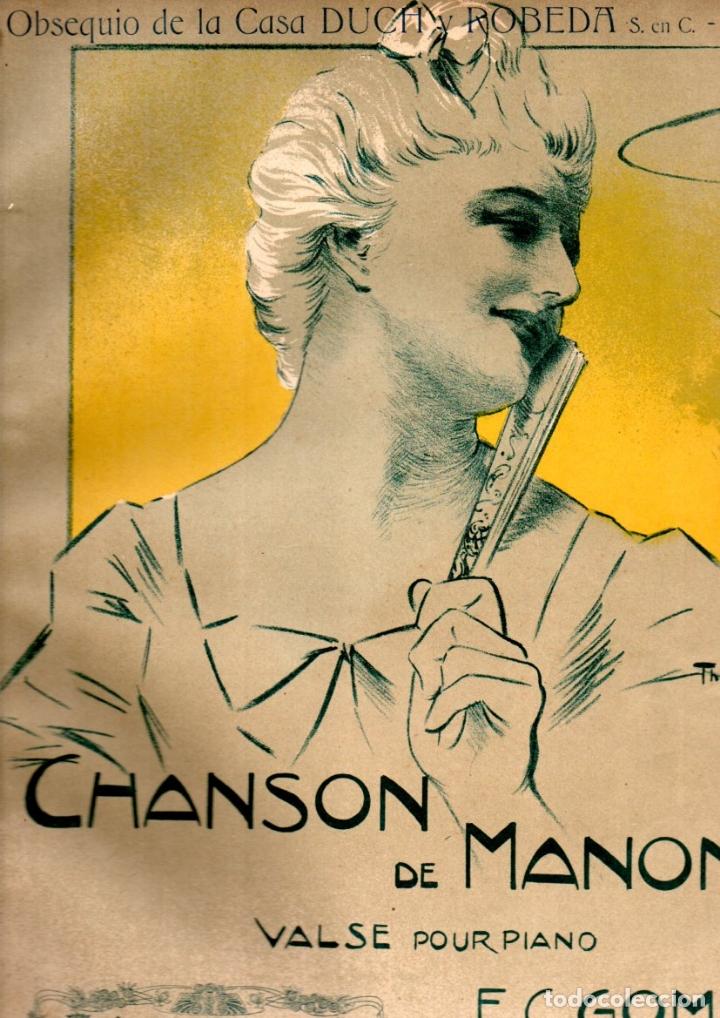 GOMÁ : CHANSON DE MANON (DOTESIO) OBSEQUIO DE LA CASA DUCH Y ROBEDA - MELILLA (Música - Partituras Musicales Antiguas)