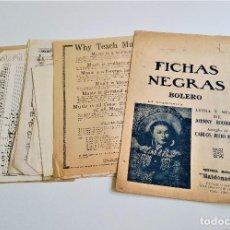 Partituras musicales: ANTIGUAS PARTITURAS FICHAS NEGRAS Y OTRAS HOJAS SUELTAS. Lote 171807569