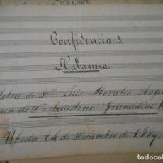 Partituras musicales: PARTITURA, CONFIDENCIA...! , HABANERA. Lote 172642060