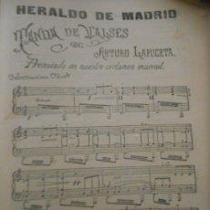 Partituras musicales: HERALDO DE MADRID - TANDA DE VALSES DE ARTURO LAPUERTA. Lote 172642529