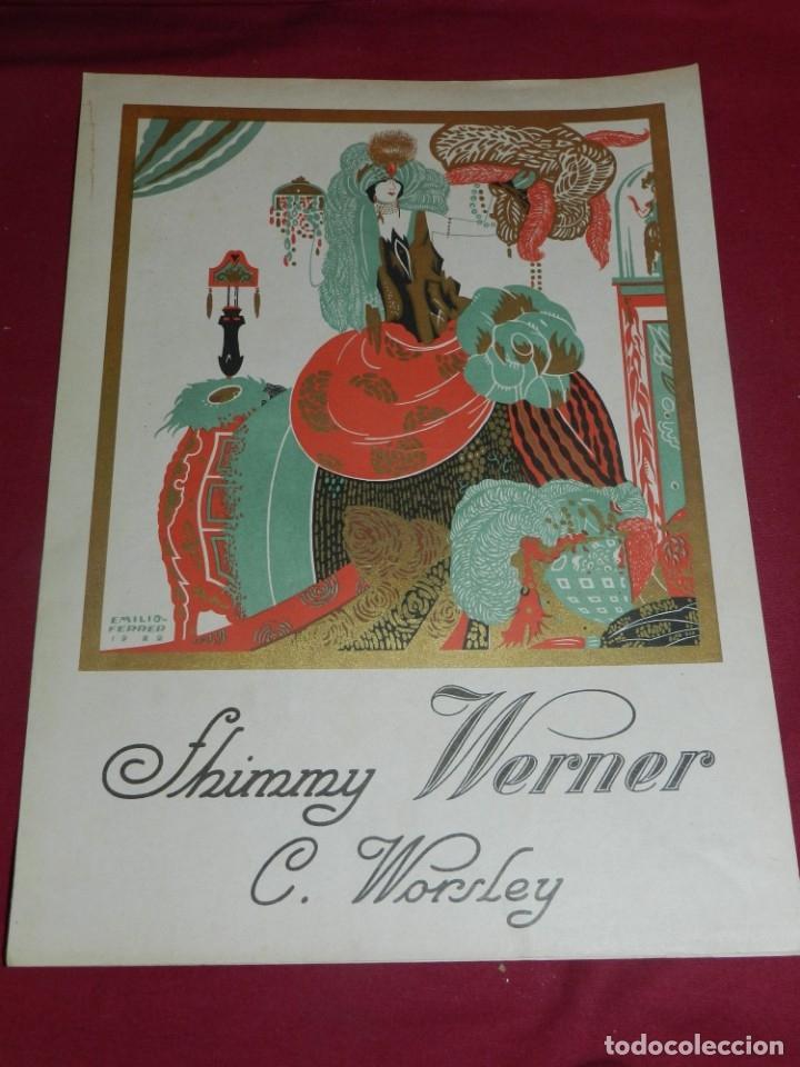 (M) PARTITURA SHIMMY WERNER C. WORSLEY - ILUSTRADO POR EMILIO FERRER 1922, BUEN ESTADO (Música - Partituras Musicales Antiguas)