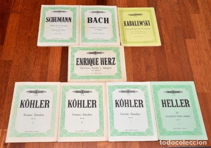 8 LIBROS DE PIANO - SCHUMANN - BACH - KABALEWSKI - ENRIQUE HERZ - KOHLER (Música - Partituras Musicales Antiguas)