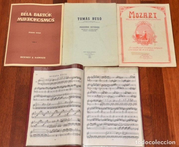 3 LIBROS DE PIANO - BELA BARTOK - TOMAS BUXO - MOZART (Música - Partituras Musicales Antiguas)