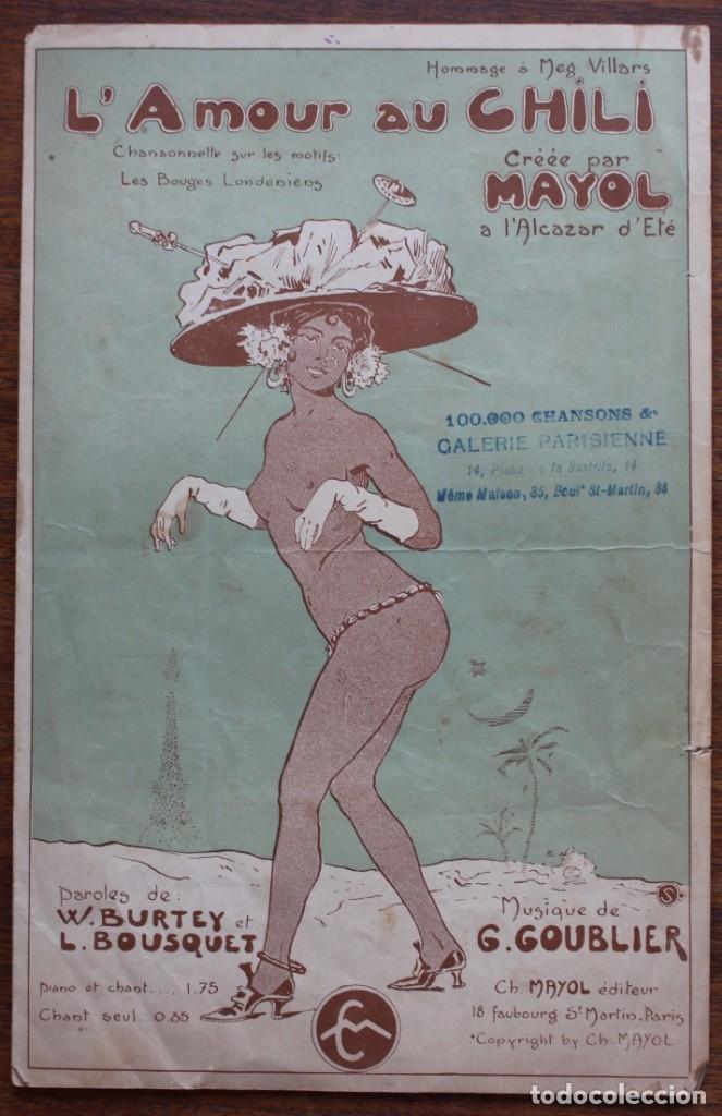 CANCIÓN EN FOLLETO- L'AMOURAU CHILI- HOMENAJE MEG VILLARS- CREADA POR MAYOL.1906.UNA FIRMA (Música - Partituras Musicales Antiguas)