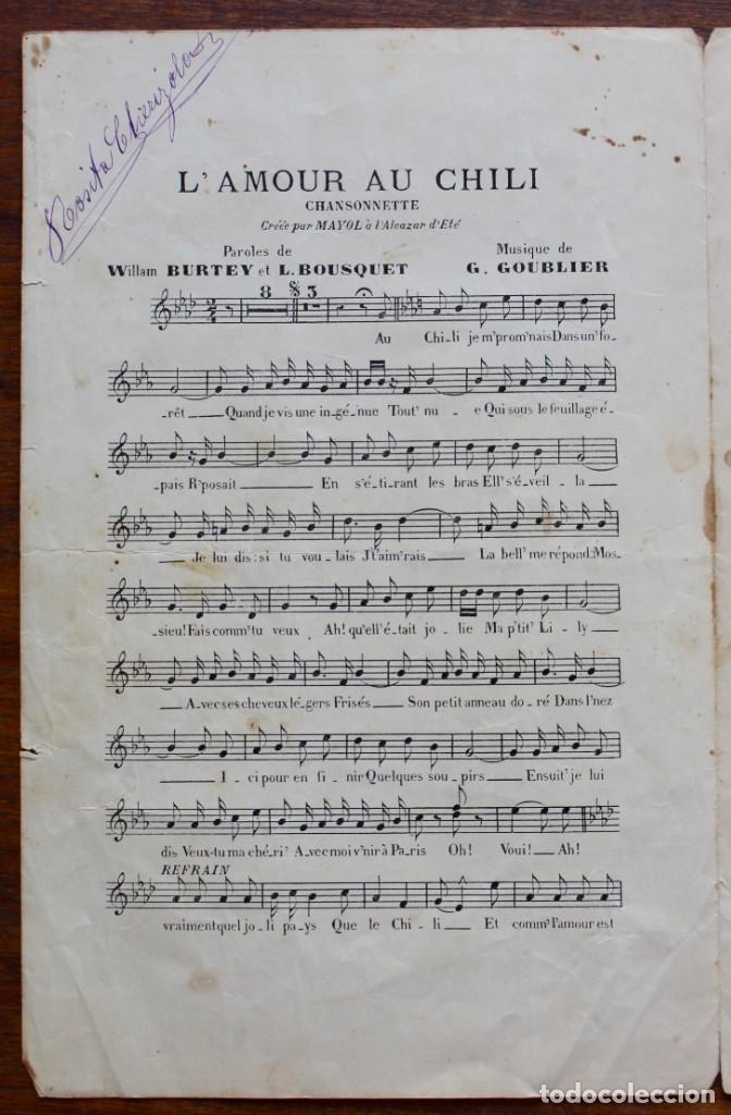 Partituras musicales: CANCIÓN EN FOLLETO- L'AMOURAU CHILI- HOMENAJE MEG VILLARS- CREADA POR MAYOL.1906.UNA FIRMA - Foto 4 - 174221697