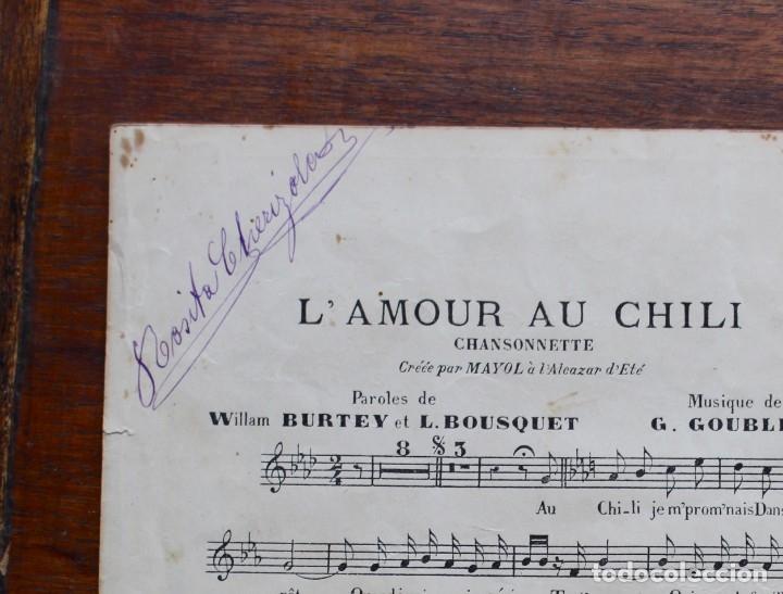 Partituras musicales: CANCIÓN EN FOLLETO- L'AMOURAU CHILI- HOMENAJE MEG VILLARS- CREADA POR MAYOL.1906.UNA FIRMA - Foto 5 - 174221697