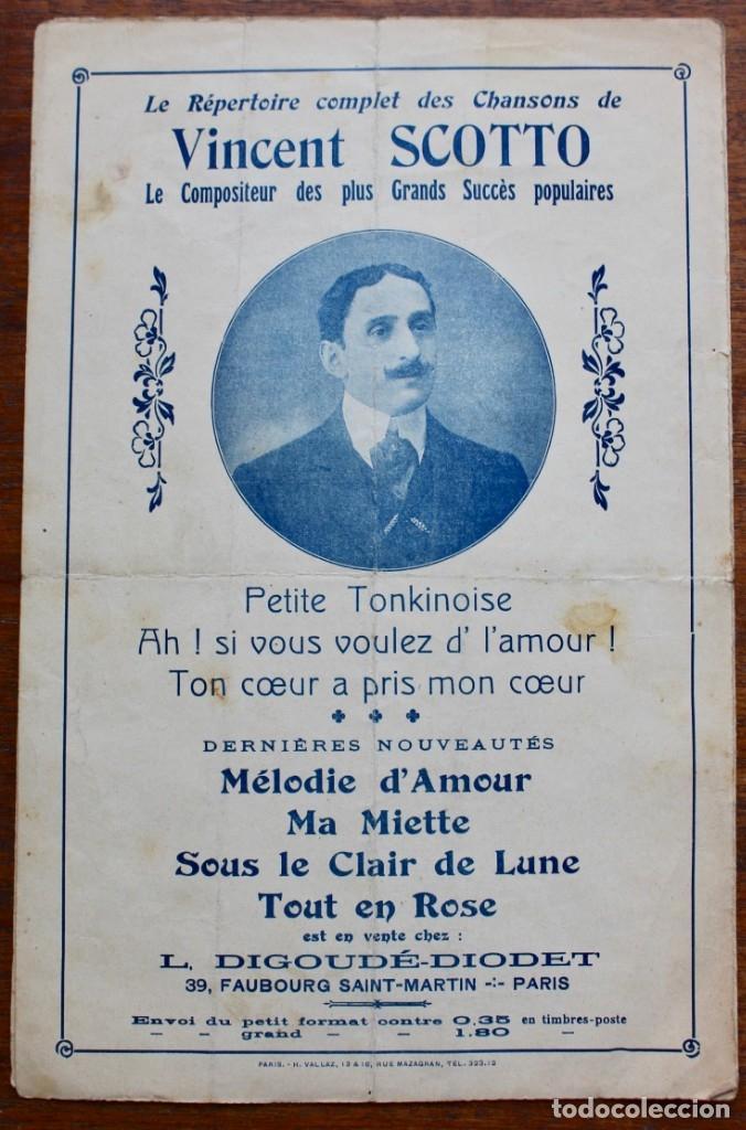 Partituras musicales: CANCIÓN EN FOLLETO- ECOUTEZ VOTRE COEUR- LETRA DE J. RODOR-MUSICA V. SCOTTO.1910.UNA FIRMA - Foto 4 - 174222792