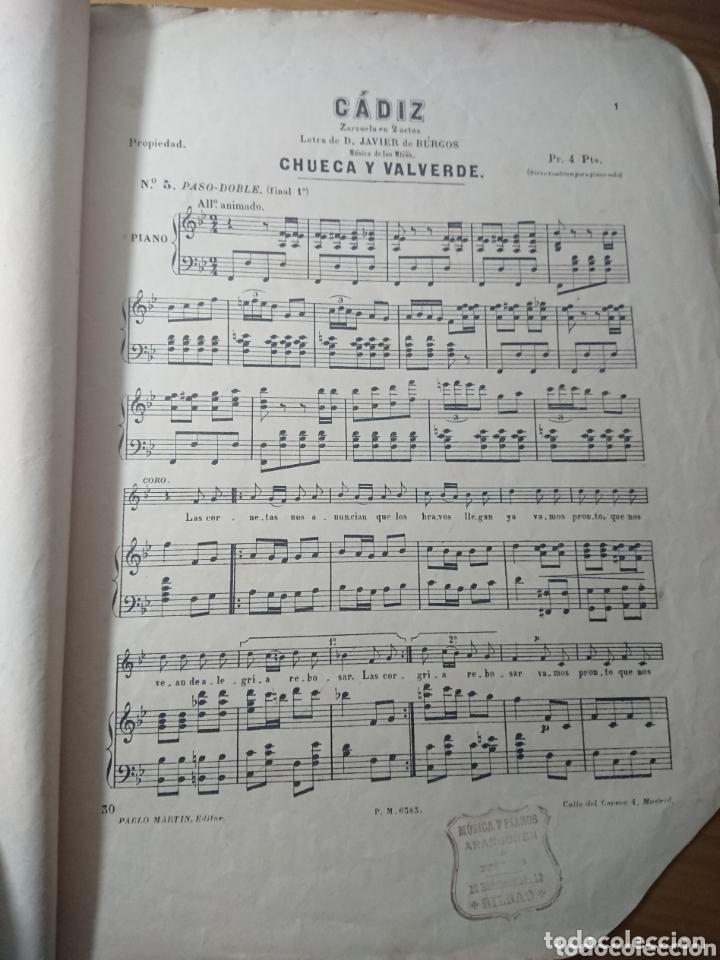 Partituras musicales: Cádiz, Chueca y Valverde, Zarzuela en 2 actos, antigua partitura ppios de siglo - Foto 2 - 174264835