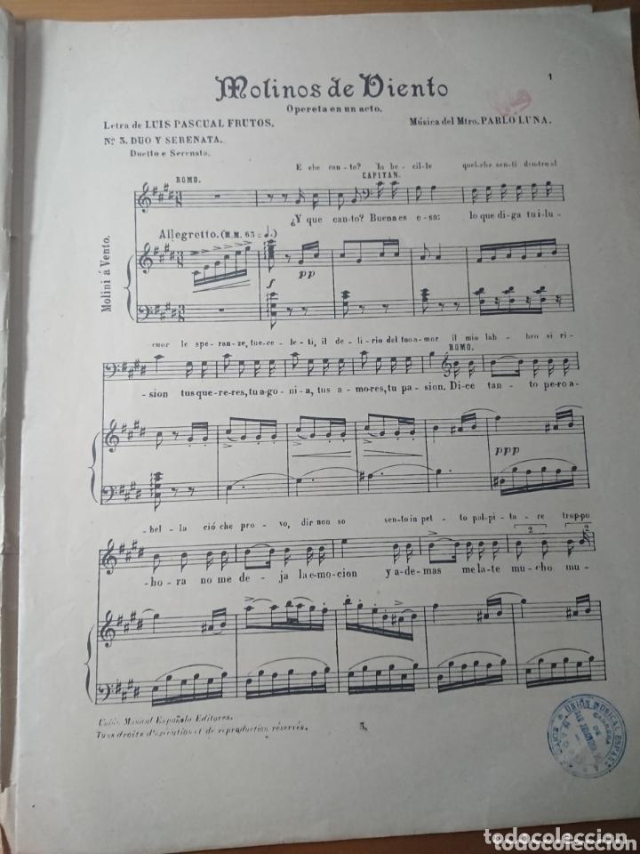Partituras musicales: Molinos de Viento, Opereta de Pablo Luna, antigua partitura ppios de siglo - Foto 2 - 174264942